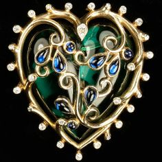 Trifari 'Alfred Philippe' Gold Sapphire Flowers and Emerald Jelly Belly Heart Pin or Pendant