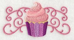 Sweet Cupcake in Filigree Border design (M3452) from www.Emblibrary.com