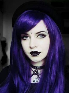 pastel-goth-princess: sabrina-devil-rose: dolleyedgirl: My face today, need to practice putting makeup on, I'm terrible >< and yes it is definitely inspired by lady cube :P ♥ oh you're gorgeous! Dark Beauty, Goth Beauty, Violet Hair, Purple Hair, Gothic Hairstyles, Cool Hairstyles, Dark Black, Goth Princess, Chica Cool