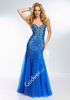 Cheap Sparkly Beaded Strapless Royal Mesh Long Prom Gown | We ...