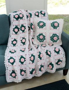 Pearly Blossoms Afghan and Pillow Crochet by Maggiescrochet, $8.50