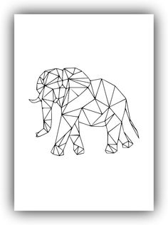 Geometric Elephant Canvas Art Print Poster, Wall Pictures for Home Decoration, Wall decor Geometric Drawing, Geometric Shapes, Geometric Elephant, Geometric Animal, Elephant Canvas Art, Tape Art, Black And White Drawing, Geometric Designs, String Art