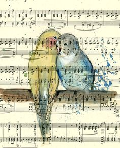 Lovely Birds -Original Watercolor Illustration on an old music sheet , 9 x 13 inches