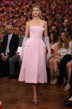 Dior Haute Couture Autumn-Winter 2012 – Look 9: pale pink wool crepe day dress with a structured bustier inset. Discover more on www.dior.com #Dior #PFW