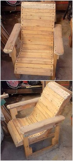Wood Pallet Chair #palletfurnitureeasy