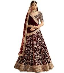 Buy Maroon embroidered velvet unstitched lehenga with dupatta bridal-lehenga online Indian Lehenga, Lehenga Saree, Pakistani, Lehenga Online Shopping, Wedding Lehenga Designs, Bridal Lehenga Online, Choli Designs, Ghagra Choli, Ethnic Fashion