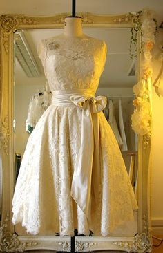 Lace tea length wedding dress £1800.00