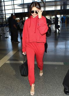 selena gomez wearing a $1,400 sweatsuit to the airport #travelgoals