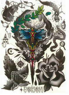Aaron Ashworth Tattoo Flash Art Sheet 04 by WAInkTattoo on Etsy, $20.00