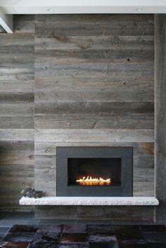 wood wall   fireplace