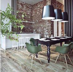 Clinker wall design modern windows laminate pendant lights dining d66453b14594e8ead28e5c3180883fe8 loft room home interior designg mozeypictures Images