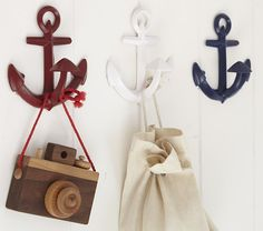 Anchor Hooks to hang you little sailor's toys, coats, hats and more on.