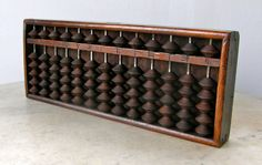 SOROBAN ABACUS JAPANESE 13 Columns 6 Wooden Beads by OnceUpnTym, $75.00