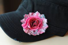 Black  Distressed Military Cadet flower hat. Shabby Chic Flower Hats Womens Cadet Cap $20