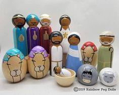 Nativity Peg Doll, Wood Peg Dolls, Clothespin Dolls, White Nativity Set, Nativity Sets, Nativity Creche, Christmas Wood, Christmas Crafts, Xmas