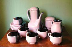 Mid Century Modern Ceramic Tea Set In Pink, Black, And Grey - Bauer Era California Modern Tea Cups and Service. $190.00, via Etsy.