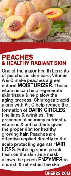 Vitamin A & C make peaches a great natural moisturizer. These vitamins can help regenerate skin tissue & slow the aging process. Chlorogenic acid along with Vit C help reduce the formation of dark circles, fine lines & wrinkles. The presence of so many nutrients, vitamins & antioxidants gives the proper diet for healthy growing hair. Peaches applied directly to the scalp protecting against hair loss. Rubbing its flesh on the skin as a mask allows enzymes to nourish & refreshen the skin…