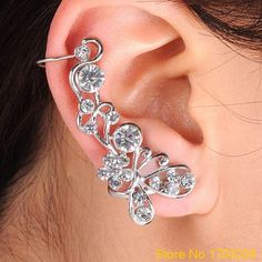 Retro Crystal Butterfly Flower Earring Wrap Clip On For Right Ear Cuff 4TB6