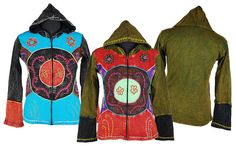 floral zip Hoodie | Hippy Hoodie XXL~Bohemian Patchwork Flower Embroidery Hooded Abstract ...
