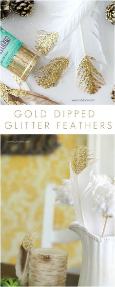 DIY // Gold Dipped Glitter Feathers