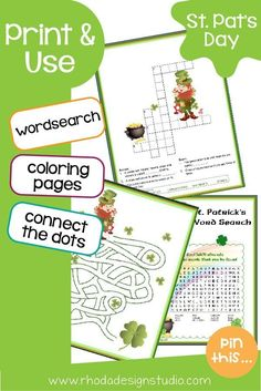 A fun packet of St. Patrick's day activities for kids. Great for a March activity or those blustery days of March. St Patrick Day Activities, Activities For Kids, Fun Printables For Kids, Jokes For Kids, Business For Kids, Fun Learning, St Patricks Day, Big Kids, Literacy
