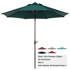 Abba Patio 9 Ft Market Aluminum Umbrella with Push Button Tilt and Crank, 8 Steel Ribs and Wind Vent, 100% Polyester 250gsm, Dark Green - Abba Patio 9 Feet Tilt Market Patio Umbrellas Here comes the sun! Control the exposure to the sun by installing your outdoor furniture with an Abba Patio? market umbrella. With the tilt and crank, this easy-to-use umbrella sets up and opens quickly. 8 flexible steel ribs support the canopy, so... - http://ehowsuperstore.com/bestbrandsales/p