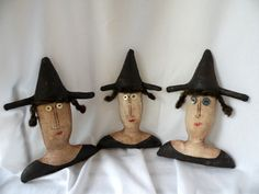 Witch Primitive Halloween Witch Doll set of 3 by Handofbelapeck