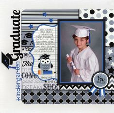 Doodlebug Design Inc.'s Gallery: Have you seen the New Cap & Gown Collection from Doodlebug? School Scrapbook Layouts, 12x12 Scrapbook, Scrapbook Sketches, Scrapbooking Layouts, Scrapbook Photos, Graduation Scrapbook, Graduation Cards, Picture Layouts, Freebies