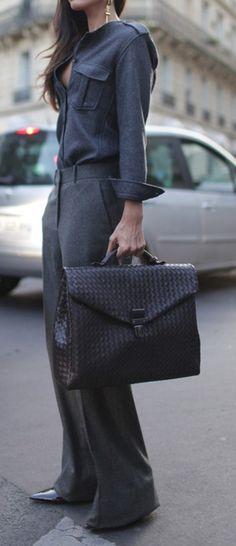 womensweardaily: They Are Wearing: PFW Photo by Kuba Dabrowski Womens Fashion For Work, Work Fashion, Fashion Week, Paris Fashion, Looks Style, My Style, Street Style, Work Attire, Work Outfits