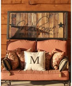Newly Remolded Porch! - Home and Garden Design Idea's). Love the DIY pallet peices or lumber left-overs encased by rustic wood frame (maybe crown molding too??) Then use stencil for last name!