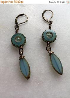 Czech Glass Milky Aqua Spindle Dangle earrings    Boho Earrings   Nature Inspired Boho Jewelry  Product id: MAS217