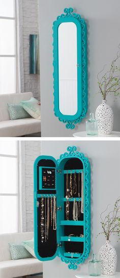 $229.98/ Everything Turquoise. Wall Scroll Locking Jewelry Armoire. I want this so much!