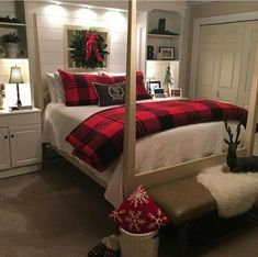 Are you looking for inspiration for farmhouse bedroom? Check out the post right here for unique farmhouse bedroom inspiration. This unique farmhouse bedroom ideas seems fantastic. Bedroom Wall Decor Above Bed, Decoration Bedroom, Winter Bedroom Decor, Winter Bedding, Farmhouse Bedroom Furniture, Home Bedroom, Bedroom Ideas, Farmhouse Decor, Bedroom Night