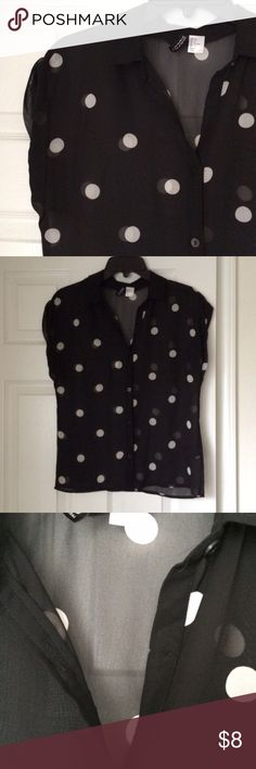 polka dot blouse black sheer, short sleeve, button down blouse with white polka dots. size 2 from h&m. perfect condition except the very top button is missing, which shouldn't be a big deal bc this top looks better on without that button anyways. H&M Tops Button Down Shirts