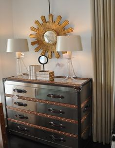 Love metal steam trunks as a chest of drawers