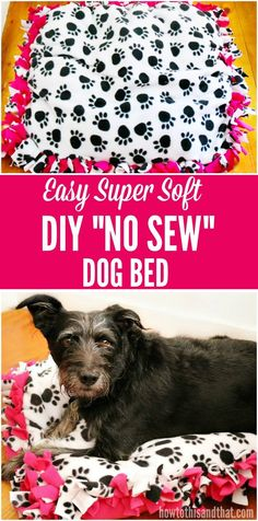 This DIY No Sew Dog Bed is so easy and soft, keeping your dog comfy all night long! The best part- you can make them any size you need!    https://www.pawstruck.com/ #DIY #DIYcrafts #dogpet #petbed #bed #petaccessories #adorable #homemade
