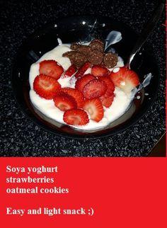 One of my favourite healthy snacks ;)  #soya #soyayoghurt #strawberries #oatmeal #oatmealcookies #healthyliving #lightsnacks #healthysnacks #health