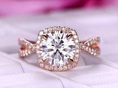 Round FB Moissanite Engagement Ring Diamond Infinite Love Shank 14K Rose Gold 7.5mm - 6.75 / 14K White Gold