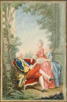 Marquis d'Ecquevilly et ses filles, c. 1760's by Louis Carrogis Carmontelle (1717-1806)