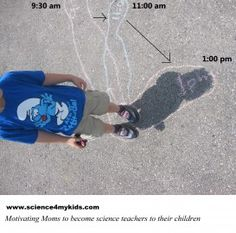 Fun and easy way to teach a child about his shadow: why does it show up where it does, why does it move and why does it change it length, and what does the earth spinning on itself have to do with this