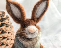 Doll Hare with christmas lights, thanksgivings decor, needle felted animals, gifts Needle Felted Animals, Felt Animals, Needle Felting, Felt Dragon, Felt Bunny, Felt Fairy, Fairy Figurines, Felt Mouse, My Little Baby