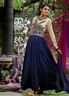 Cream N Blue Georgette Ankle Length Anarkali