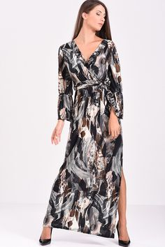 1a46cd23fb15 Φόρεμα μακρύ κρουαζέ εμπριμέ (γκρι - μαύρο)