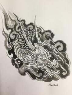 Pin by Jane Tattoo Phuket on Art Small Dragon Tattoos, Dragon Sleeve Tattoos, Japanese Dragon Tattoos, Japanese Tattoo Art, Dragon Tattoo Designs, Leg Tattoos, Black Tattoos, Traditional Tattoo Sketches, Dragon Medieval