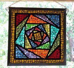 Quilt block as mosaic Mosaic Tile Art, Mosaic Artwork, Mosaic Crafts, Mosaic Projects, Mosaic Glass, Mosaics, Mosaic Designs, Mosaic Patterns, Quilt Patterns