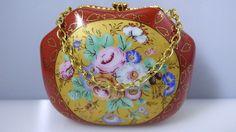 Vintage Miniature Porcelain Ceramic Orange Flower Gold Purse Handbag Trinket Box
