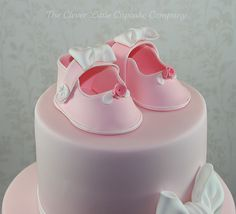 Bootee and Bows Christening Cake by The Clever Little Cupcake Company (Amanda), via Flickr
