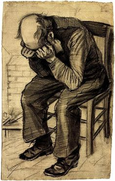 Worn Out: 1882 by Vincent van Gogh - drawing (Van Gogh Museum, Amsterdam) - Post-Impressionism