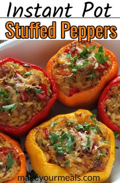Instant Pot Stuffe Peppers Recipe - using raw meat! No need to precook your meat or vegetables. Tried and True recipe. Instant Pot Stuffe Peppers Recipe - using raw meat! No need to precook your meat or vegetables. Tried and True recipe. Hamburger Meat Recipes, Beef Recipes, Cooking Recipes, Healthy Recipes, Vegetable Recipes, Healthy Meals, Paleo Food, Food Food, Healthy Food
