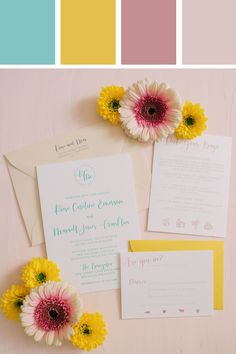 Bright and colorful wedding invitations with letterpress for a festival or fiesta themed wedding!